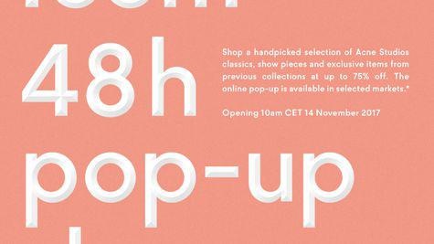 Pop-up shop online Acne Studios, exclusiv pt Romania